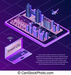 isométrique, concept, de, intelligent, city., sans fil, connecté, devices., isométrique, illustration