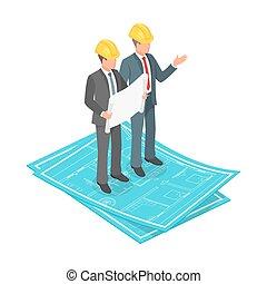 isométrique, concept, dur, vecteur, plan, architectural, homme affaires, 3d, chapeau, ou, ingénieur