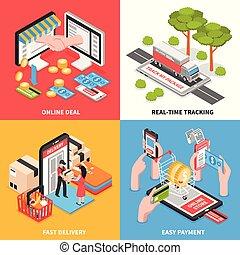 isométrique, concept, e-commerce, conception