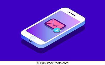 isométrique, concept, entrant, illustration., sms., messages., notification., e-mail, vecteur, nouveau, smartphone, courrier