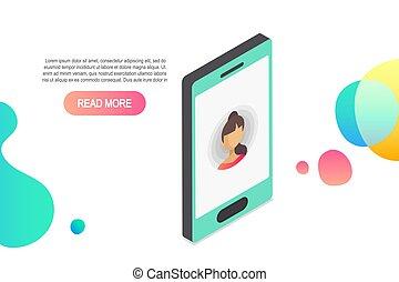 isométrique, concept, entrant, vecteur, appeler, icon.isometric, smartphone, 3d