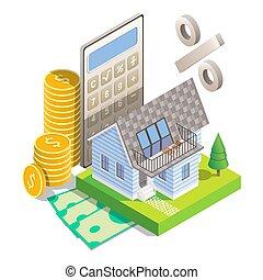 isométrique, concept, hypothèque, illustration, vecteur, taux, intérêt