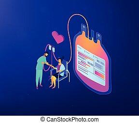 isométrique, concept, illustration., donation, vecteur, sanguine