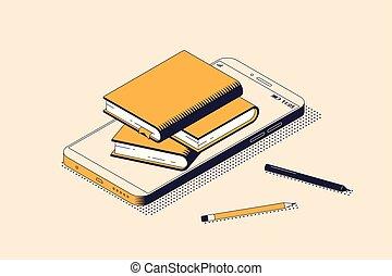 isométrique, concept, illustration., isolé, vecteur, lecture, éducation ligne