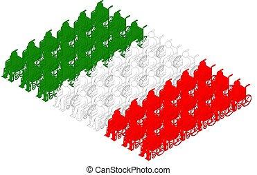 isométrique, concept, italie, pictogramme, fauteuil roulant, drapeau, isolé, illustration, handicapé, forme, conception, fond, blanc, icône, rang, national, homme