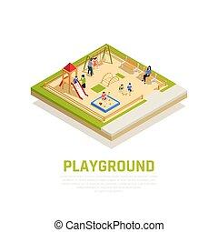 isométrique, concept, jouer, famille