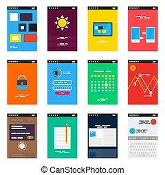 isométrique, concept, mobile, app, vecteur, conception, ui