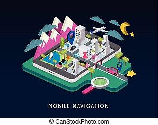 isométrique, concept, mobile, infographic, navigation, 3d