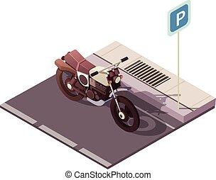 isométrique, concept, motocyclette