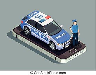 isométrique, concept, police