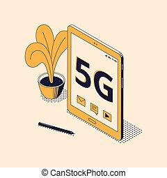 isométrique, concept, réseau, mobile, isolé, vecteur, 5g, illustration.