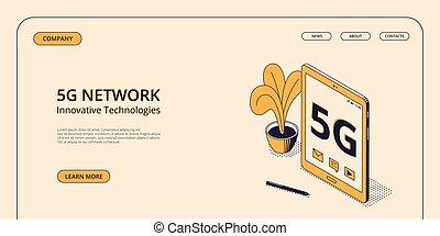 isométrique, concept, réseau, mobile, vecteur, 5g, illustration.