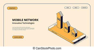 isométrique, concept, réseau, mobile, vecteur, technologies, illustration.