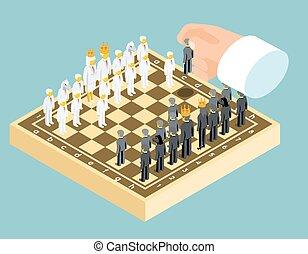 isométrique, concept, stratégie commerciale, échecs,...