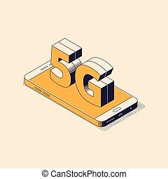 isométrique, concept, téléphone, mobile, grand, -, connection., signe, sans fil, génération, mensonge, internet, 5g, cinquième