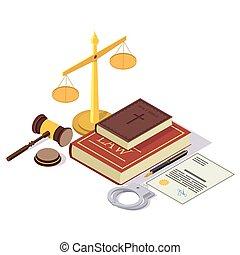 isométrique, concept, vecteur, droit & loi, illustration, justice