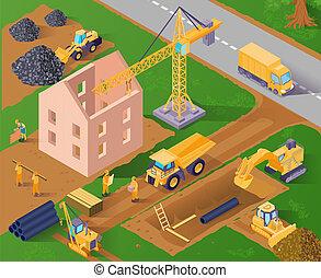 isométrique, construction, illustration