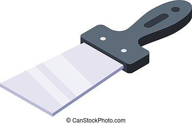 isométrique, construction, style, icône, spatule