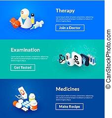 isométrique, couleur dessin, médicaments, examen, thérapie, bannières