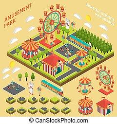 isométrique, créateur, parc attractions, carte, composition