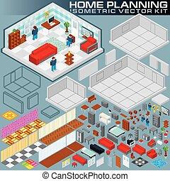 isométrique, création, kit, vecteur, plan., maison, 3d