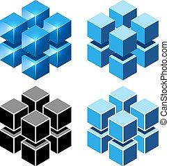 isométrique, cubes, isolé, signe, arrière-plan., vecteur, blanc