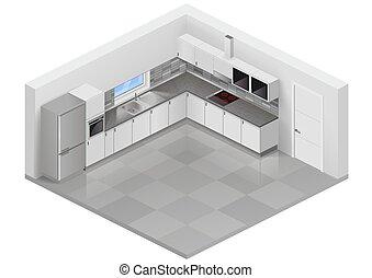 isométrique, cuisine, moderne