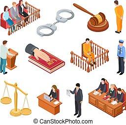 isométrique, défendeur, tribunal, icônes, justice, procès, law., légal, interrogation, juge, vecteur, témoin, avocat, prisonnier, jury, criminel, accusé