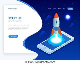 isométrique, démarrage, concept., revenu, et, success., fusée, voler, dehors, de, ordinateur portable, écran, sur, bleu, arrière-plan., projet, development.