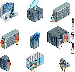 isométrique, datacenter, éléments, ensemble