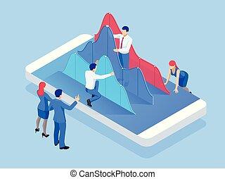 isométrique, diagram., téléphone affaires, personnel, diagramme, protection., mobile, paiements, concept, analysis., tendance, données