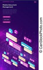 isométrique, directeur, concept, document, business