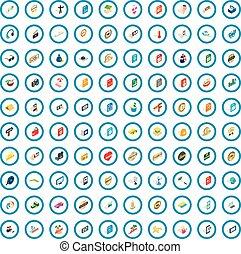 isométrique, dj, icônes, ensemble, style, 100, 3d