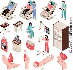 isométrique, donateur, ensemble, sanguine