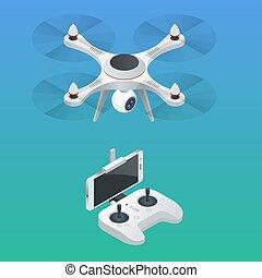 isométrique, drone., equipment., illustration, radio-controlled, vecteur, vidéo, innovation, photographie