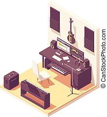 isométrique, enregistrement, vecteur, musique, maison, studio