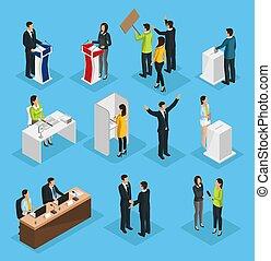 isométrique, ensemble, élection, gens