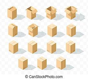 isométrique, ensemble, 15, réaliste, boîtes, ombre, carton, transparent