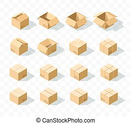 isométrique, ensemble, 16, réaliste, boîtes, ombre, carton, transparent