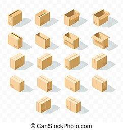 isométrique, ensemble, 18, réaliste, boîtes, ombre, carton, transparent