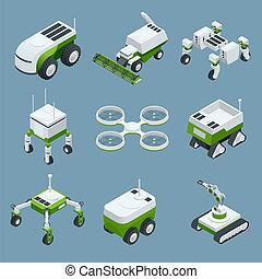isométrique, ensemble, agriculture, agriculture, industrie, iot, robot, illustration, robots, robot, vecteur, greenhouse., 4.0, technologie rurale, intelligent