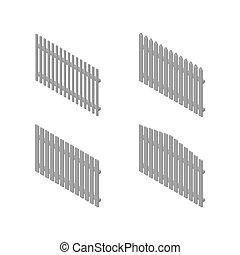 isométrique, ensemble, barrières, bois, vecteur, spans, illustration.