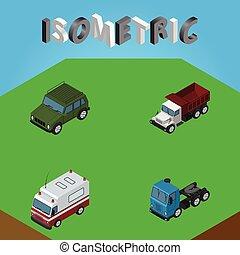 isométrique, ensemble, blindé, aide, aussi, inclut, suv, premiers secours, vecteur, voiture, fret, elements., autre, objects., transport