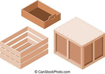 isométrique, ensemble, bois, objet, style, illustration, packaging., arrière-plan., boîtes, vecteur, blanc