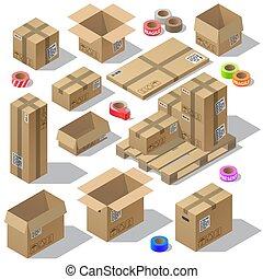 isométrique, ensemble, conditionnement, vecteur, carton, 3d