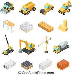 isométrique, ensemble construction, icônes