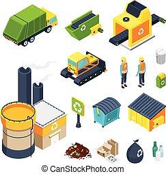 isométrique, ensemble, déchets, icône