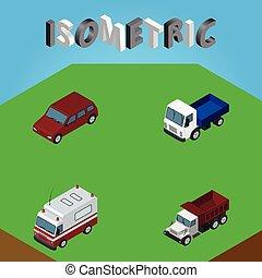 isométrique, ensemble, elements., aide, automobile, inclut, aussi, premiers secours, vecteur, fret, camion, objects., autre, voiture