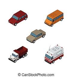isométrique, ensemble, elements., auto, fret, conduire, inclut, aussi, premiers secours, vecteur, autobus, voiture, camion, objects., autre