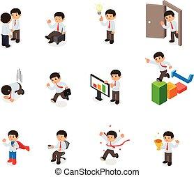 isométrique, ensemble, elements., dessin animé, caractère, vecteur, homme affaires